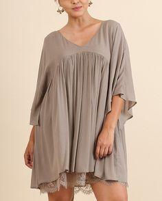 Summer Soiree Tunic / Mini Dress Layered Lace Hem Criss Cross Back Taupe Plus XL 1XL 2XL