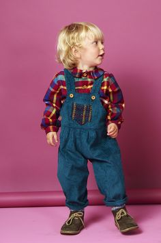 These dungarees for boys aged newborn to 3 years old are handmade and created in a chunky teal corduroy fabric and wooden buttons  Double buttoned on the strap for extra length, the boys dungarees also feature two side buttons to make changing nappies easier. A chest  pocket in wool check has been stitched to the front of the dungarees for extra safe keeping  http://www.whatmothermade.co.uk/boys-clothes-what-mother-made/boys-dungarees-in-chunky-teal-corduroy