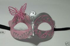 pink silver butterfly mask
