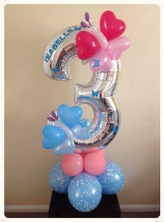 Birthday balloon three  created by www.balloonblooms.co.ul