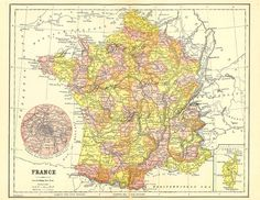 Excited to share this item from my #etsy shop: map of France, a printable digital download for home decor, crafting, journals and more, printable map no. 769 #oldmapoffrance #antiquedecor #printablemaps Printable Maps, Printables, Map Wall Decor, Wall Art, France Map, Old Maps, Arts And Crafts Projects, Digital Collage, Etsy Handmade
