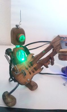 Mini Wooden Robot Rock Band