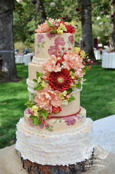 Beautiful Cake Pictures: Rustic Floral Hand Painted Wedding Cake: Cakes with Flowers, Colorful Cakes, Wedding Cakes