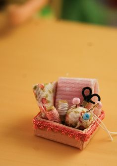miniature sewing box, great for a birthday present! (: