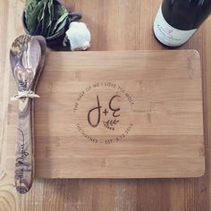 A beautiful, personalized, solid bamboo cutting board and matching olive wood kitchen spoon / spatula gift set - lovingly engraved with the names/text of your choice! This handmade and eco-friendly set makes a lovely, functional, and personal gift. Its perfect for a wedding, housewarming, anniversary, or any special occasion needing a personal, chic, and creative touch.