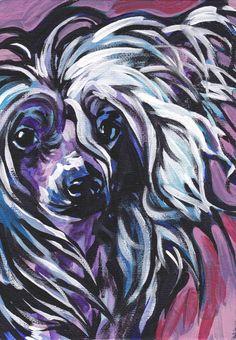 "Chinese Crested art print pop dog art bright colors 8.5x11"" LEA. $11.99, via Etsy."