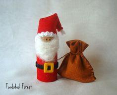 Santa Peg Doll ~ Waldorf Inspired ~ Jolly Old Elf ~ Santa Claus with Toy Sack ~ Christmas Peg Doll on Etsy, $15.00