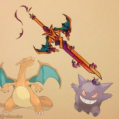 Pokemon Weapons Charizard and Gengar All Pokemon, Pokemon Fusion, Pokemon Fan, Pokemon Super, Pokemon Stuff, Anime Weapons, Fantasy Weapons, Charizard Y, Concept Weapons
