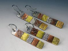 Earrings   Michelle Grady. 'Patchwork'.  Sterling silver, copper and brass.   # Pin++ for Pinterest #