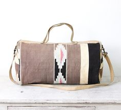 Kilim Ethnic Travel Bag Turkish Wool Leather Vintage