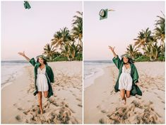 Graduation Picture Poses, Graduation Photoshoot, Grad Pics, Graduation Pictures, College Senior Pictures, Senior Pics, Senior Year, Beach Pictures, Beach Pics