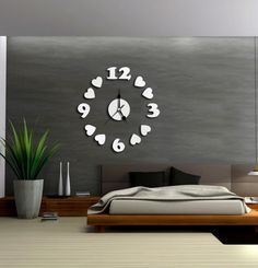 ALVA DIY Mirror Love of digital Wall Sticker Clock Decoration home Decorno.WC86 ** Insider's special review you can't miss. Read more  : home diy wall