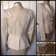 RAW7  Embroidered Tux Jacket NWT Impossible to capture the stunning beauty of this fitted jacket by celeb fave ASY7UM.  Cream wool blazer w silk trim collar & sleeves, silk embroidery at shoulders & back, adorned w STERLING SILVER signature buttons, 7- sleeves and 3-front.  It's as beautiful inside as out, lined in lavishly embroidered silk w leather label inside front.   This is a sample piece but full production quality with the exception of the care tag. Retailed over $1500. LOWEST price✌…