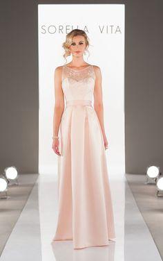 Elegant floor length satin bridesmaid dresses featuring a lace illusion neckline with detachable satin fabric sash.
