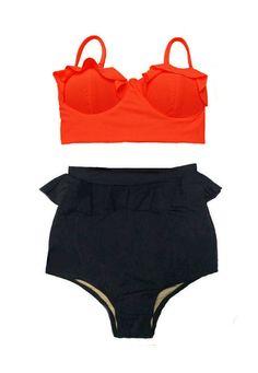 Women Wemens Swimsuit Bikini : Orange Midkini Top and Black Peplum Retro Vintage High Waist Waisted Shorts Bottom 2pc Bathing suit S M L XL by venderstore on Etsy