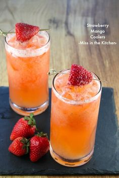 Invite a few friends over to celebrate spring with these bright and colorful Strawberry Mango Coolers! They also double as a refreshing Easter brunch cocktail. (drinks with rum bacardi) Non Alcoholic Drinks, Cocktail Drinks, Fun Drinks, Yummy Drinks, Healthy Drinks, Cocktail Recipes, Yummy Food, Mango Cocktail, Summer Beverages