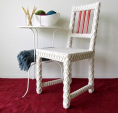 Yarn Bombed Accent Chair, Home Office Chair, Upcycled Furniture Crocheted with Recycled Yarn, Crochet Home Decor, Eco-Friendly Fiber Art by Knits for Life. Ikeahack