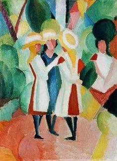 August Macke - Three girls in yellow straw hats