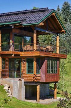 Modern-rustic log cabin preserves historic charm in Steamboat Springs Rustic Loft, Rustic Cabin Decor, Modern Rustic, Rustic Cabins, Lodge Decor, Modern Farmhouse, Cabin Design, Rustic Design, Design Design