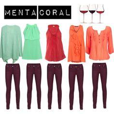 Borgoña + menta y coral