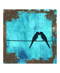 Birds on Blue Canvas Wall Art