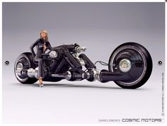 The Cosmic Motors Detonator is a plasma combustion street cruiser exclusively for non-human droids, able to bend their legs opposite way. The design of the bike was tailored towards their unusual proportions, although occasionally human models were used to pose with stationary bikes. All ten Detonators were manufactured for a group of droids on the Tarra I planet.