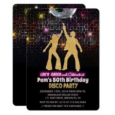 ANY AGE - Disco Birthday Party Invitation Disco Birthday Party, Ball Birthday, Disco Party, 50th Birthday Party, Toy Story Party, Toy Story Birthday, Surprise Birthday Invitations, Disco Theme, Mickey Mouse Parties