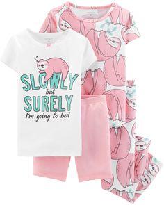 8452aafc5 4-Piece Glitter Sloth Snug Fit Cotton PJs. Toddler PajamasBaby ...
