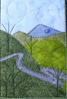 Winding Road Landscape Quilted Fabric Postcard