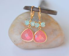 Coral Pink Teardrop and Aqua Bow Dangle Earrings in by RusticGem, $30.00
