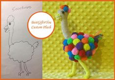 Toy made from drawing. Ostrich plush, commissioned plush, camel-bird plush,  custom toy, drawing to toy , toy from kids drawing BestGift4You