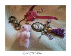 Joli Bijoux de Sac petit ourson rose coeur au crochet et pendentif : Autres bijoux par lylou-ajb-creations