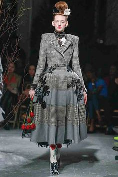 interesting mix of fabrics and lace applique Thom Brown fall 2013