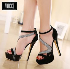 Ericdress sells stiletto heels and you have every reason to shop for cheap stiletto sandals from this website. High Sandals, Open Toe High Heels, High Heels Stilettos, Stiletto Heels, Shoes Heels, Strappy Heels, Pink Wedge Shoes, Purple High Heels, Womens Summer Shoes
