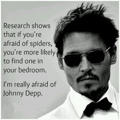 Research shows that if you're afraid of spiders, you're more likely to find one in your bedroom. I'm really afraid of Johnny Depp. And George Clooney Marlon Brando, Marlon Teixeira, George Clooney, Ryan Gosling, Funny Cartoon Jokes, Funny Ads, Hilarious Jokes, Funny Humor, I Smile