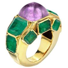 Coco Chanel at her zenith in jewelry design: Chanel Amethyst, Emerald and Gold Ring, c.1935 #FDGallery_SOLD