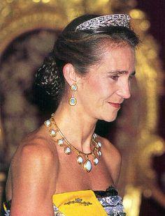 Infanata Elena - De Marichalar tiara and turquoise set set in gold: