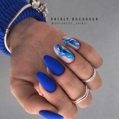 44 Unique Blue Nail Designs, You Will Want to Try as Soon as Possible - - Blue is considered the color of responsibility, loyalty and trust. It's also about being quiet, reserved and confident. Many women like blue nail designs. Elegant Nails, Classy Nails, Stylish Nails, Hair And Nails, My Nails, Nails Yellow, Red Nail, Blue Nail Designs, Blue Nails With Design