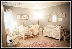 Soft colored nursery. LOVE the furniture esp the dresser drawer details and the wall mirror. This is actually the wall color I'm thinking of doing in our damask guest room