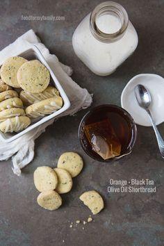 Orange and Black Tea Olive Oil Shortbread Cookies Cookie Desserts, Vegan Desserts, Cookie Recipes, Delicious Desserts, Yummy Food, Tea Recipes, Dairy Free Recipes, Dessert Recipes, Vegan Shortbread