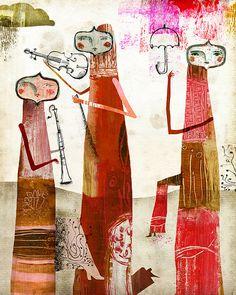 Red musicians, raining. by andrea_daquino, via Flickr