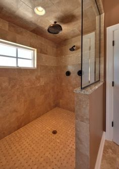 Walk-in tile shower, no door, glass.  Prefer the window to be closer to the ceiling (for lighting purposes only).
