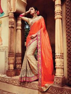 Orange and Beige Georgette Saree with Embroidery Work