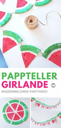 Paper Plate Craft Ideas: Fruity Melons Garland for the So .- Pappteller Bastelidee: Fruchtige Melonen Girlande für den Sommer Fruity watermelons making garlands from paper plates themselves plate - Craft Projects For Kids, Diy Crafts For Kids, Diy Projects, Children Crafts, Paper Plate Crafts, Paper Plates, Diy 2019, Diy Hanging Shelves, Diy Party Decorations