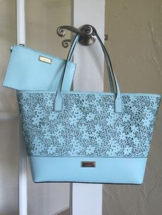 Kate Spade Bradford Court Small Margareta Tote Grace Blue with Wristlet SET #KateSpade #TotesShoppers