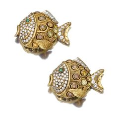 Pair of emerald and diamond fish brooches, René Boivin, circa 1980