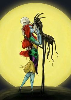 Sally and Jack Skellington in the moonlight