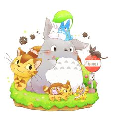 Tags: My Neighbor Totoro, Spirited Away, Studio Ghibli, Kiki's Delivery Service, Cat Bus, Jiji, Boh, Totoro, Chu-totoro, Pixiv Id 6275742