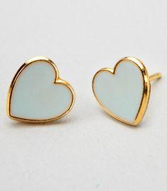 mint tea HEART earrings