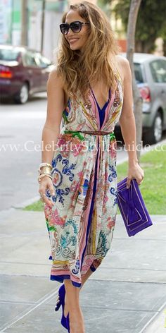Seen on Celebrity Style Guide: Jennifer Lopez was spotted wearing Collette Dinnigan Resort 2012 Seaside Escapes Satin Georgette Halter Dress in Lima, Peru on December 2, 2011